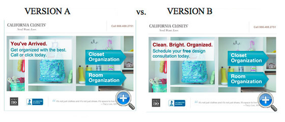 web copy a/b test conversion results
